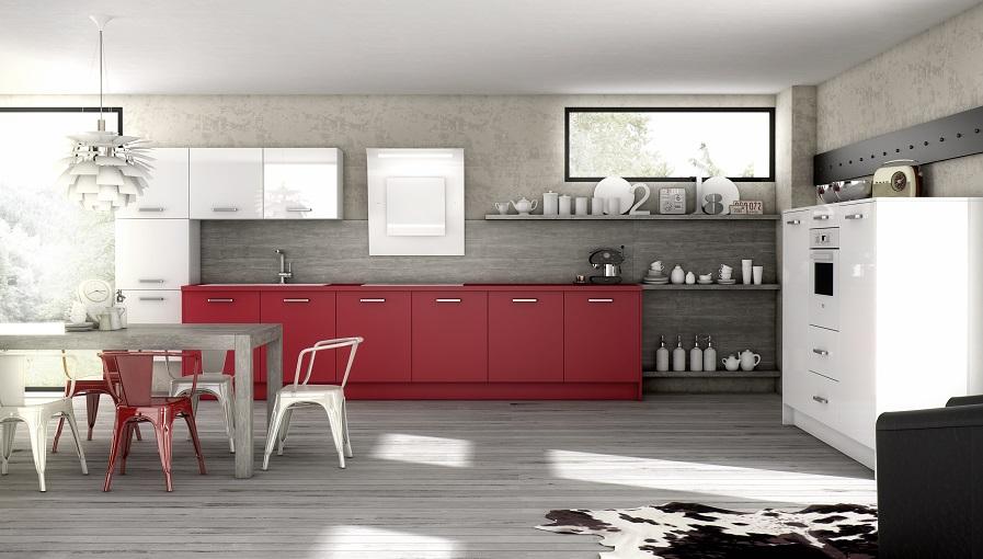 Cuisine ouverte rouge mod le harmonie for Cuisine en rouge et blanc