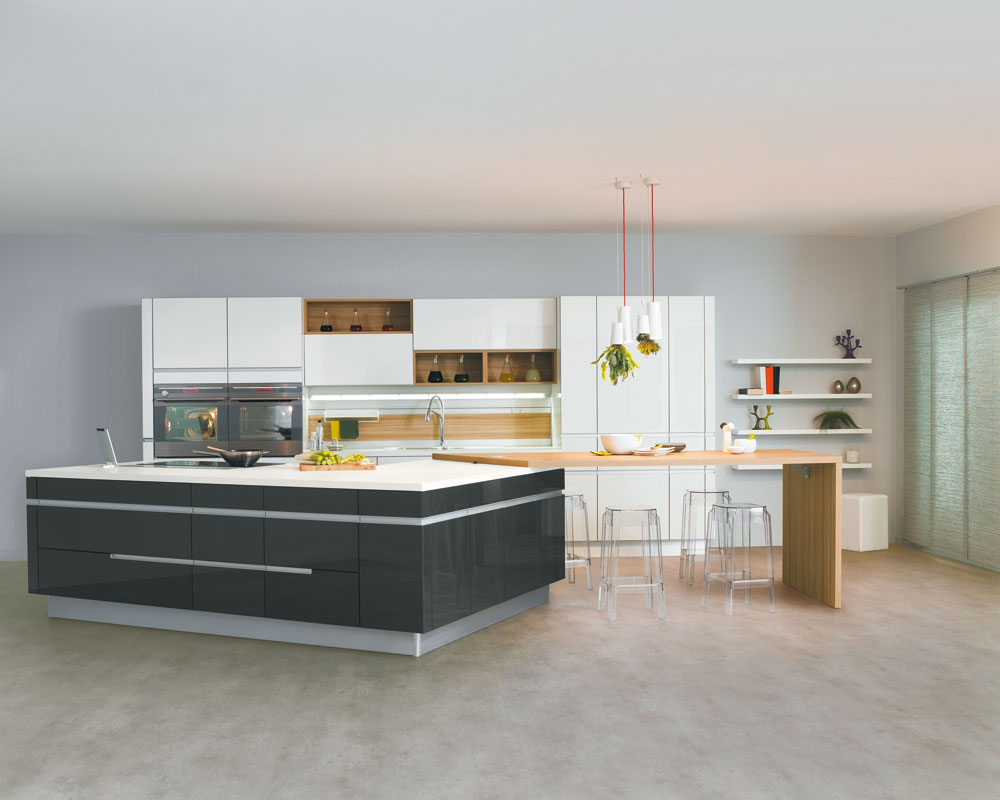 Cuisine avec lot central mod le sensations - Cuisine contemporaine avec ilot central ...
