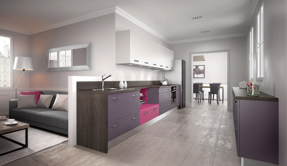 cuisine quip e moderne violette mod le harmonie m lamin. Black Bedroom Furniture Sets. Home Design Ideas