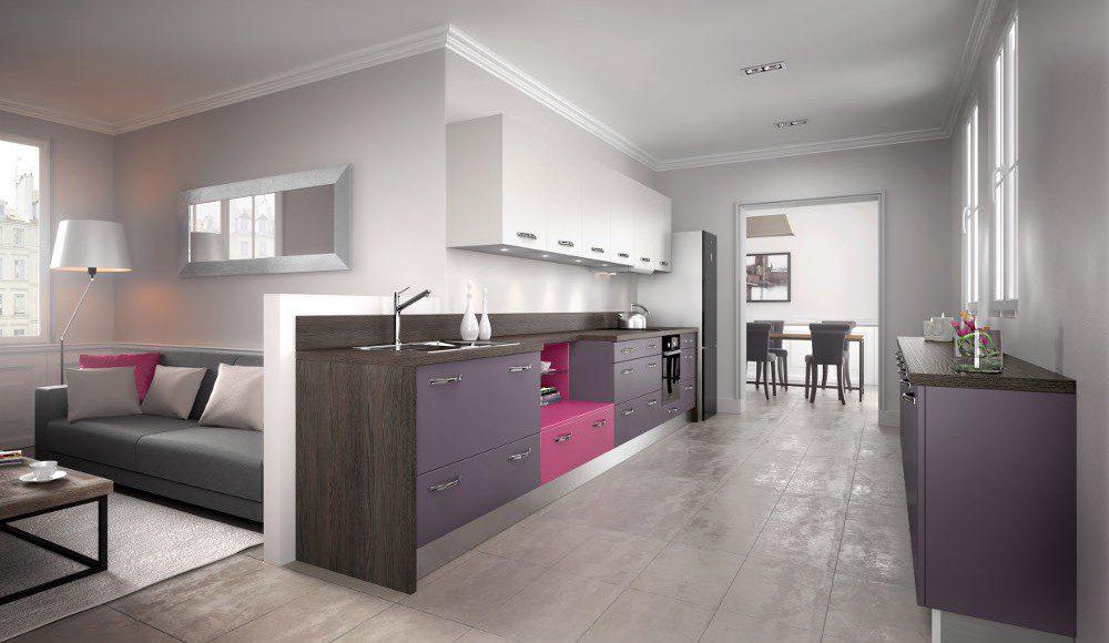 Cuisine quip e moderne violette mod le harmonie m lamin for Photos de cuisine equipee moderne