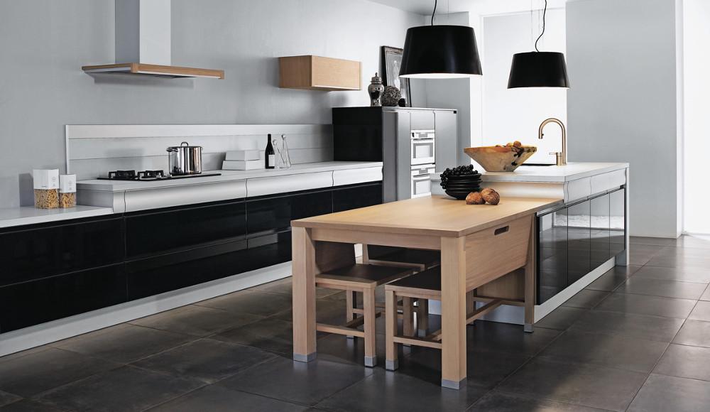 Cuisines Modernes Estrie : Cuisine design en laque noire  Design Thibault Desombre