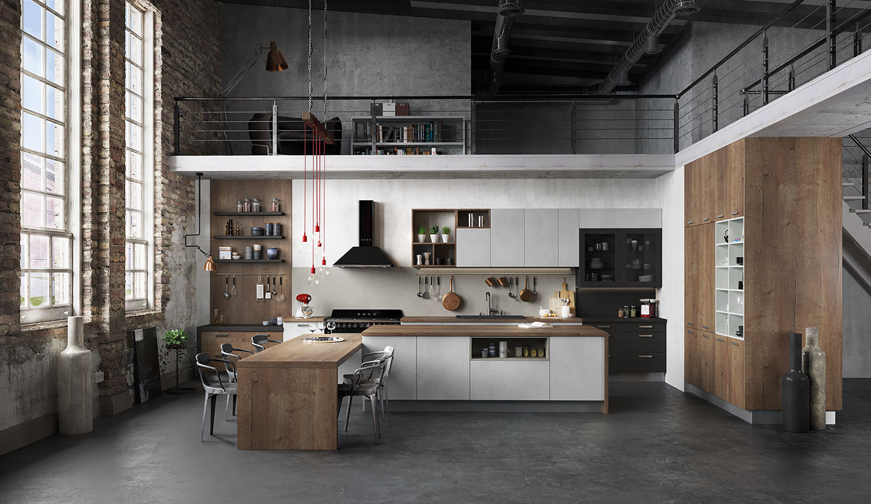 Cuisine Arthur Bonnet Rouen cuisine équipée ouverte esprit loft - modèle harmonie stratifié