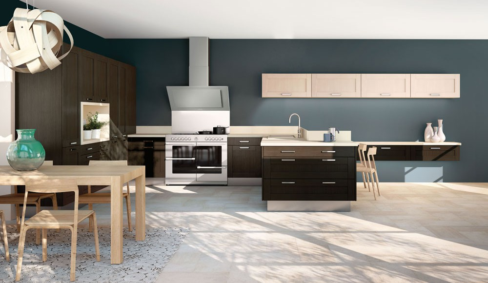 cuisine ouverte sur le salon et la salle manger mod le complicit. Black Bedroom Furniture Sets. Home Design Ideas