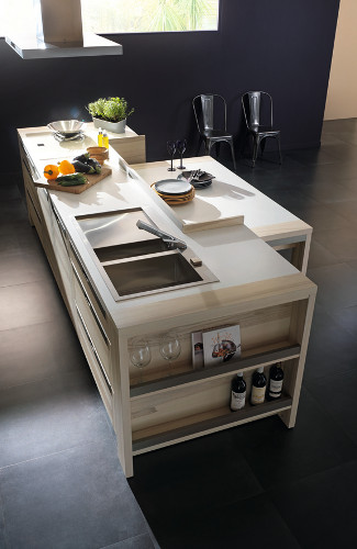 ilot de cuisine design en bois attitude