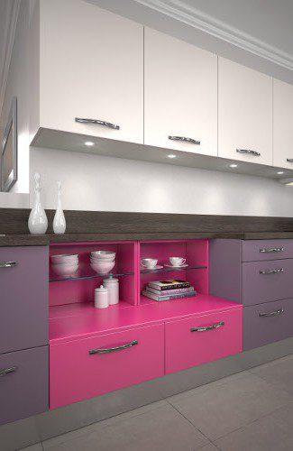 meubles de cuisines roses harmonie melamine