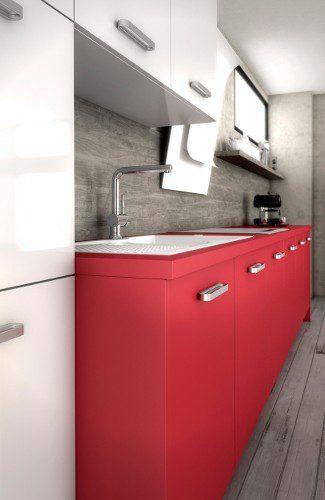 meubles de cuisines rouges harmonie