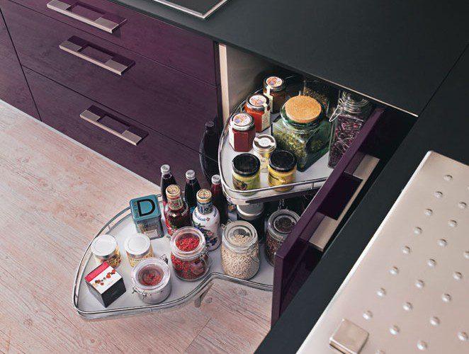 Cuisine moderne violette avec lot mod le rive droite for Cuisine fonctionnelle et ergonomique