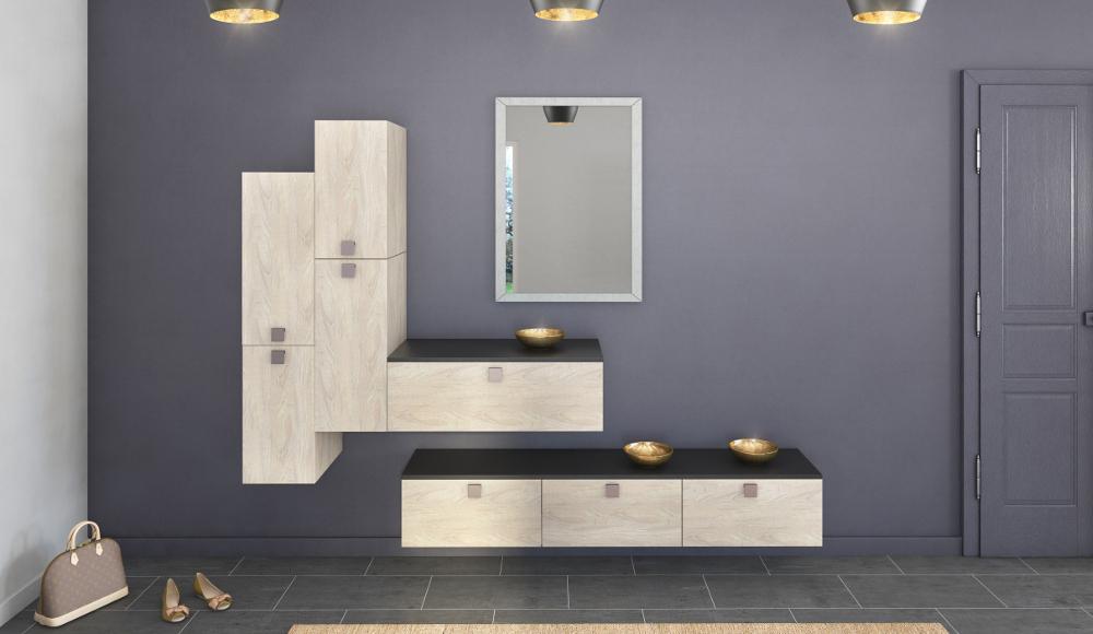 Rangements modernes bois meuble entr e ou salon - Meubles entree moderne ...