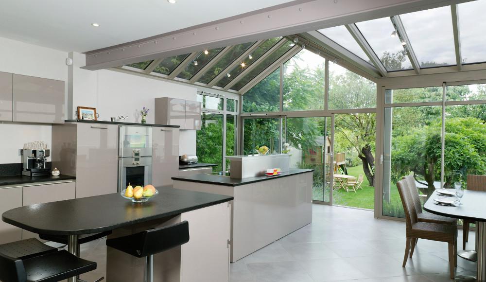 Cuisine moderne ouverte sur le jardin mod le rive droite - Modele de jardin moderne ...