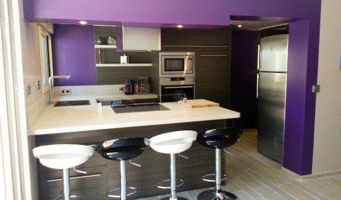 Cuisine equipee grise laquee id es de d coration et de for Cuisine amenagee design