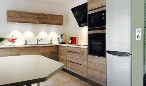 cuisine en bois sans poignees mulhouse-wittenheim