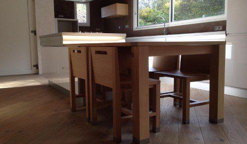 cuisine design avec table en bois mulhouse-wittenheim