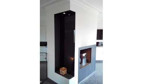 cheminee noire contemporaine