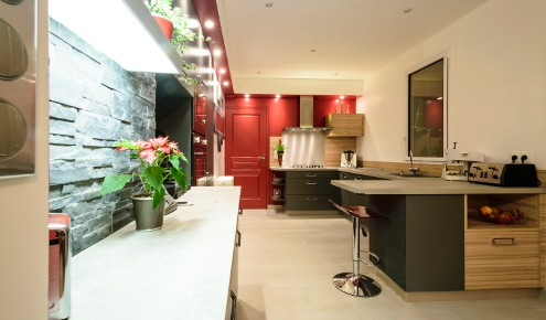 cuisine moderne rouge chambray