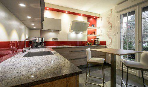 Charming Finest With Plan De Travail Quartz Rouge