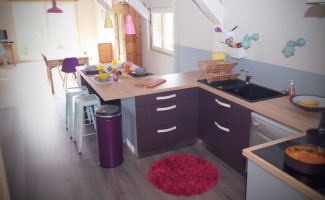 cuisine moderne avec un lot central mod le s r nade. Black Bedroom Furniture Sets. Home Design Ideas