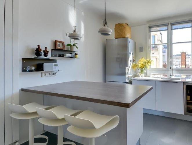 Cuisine moderne avec lot en pi mod le harmonie - Modele cuisine avec ilot central table ...