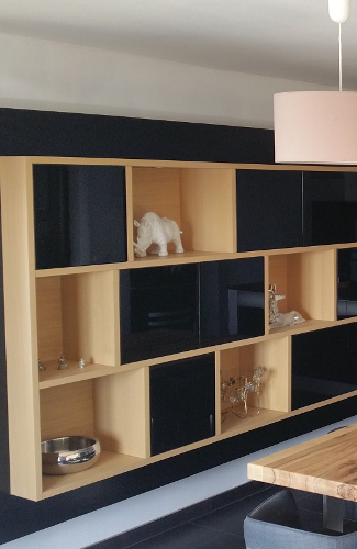 meuble de rangement avec niches cr ation sur mesure. Black Bedroom Furniture Sets. Home Design Ideas