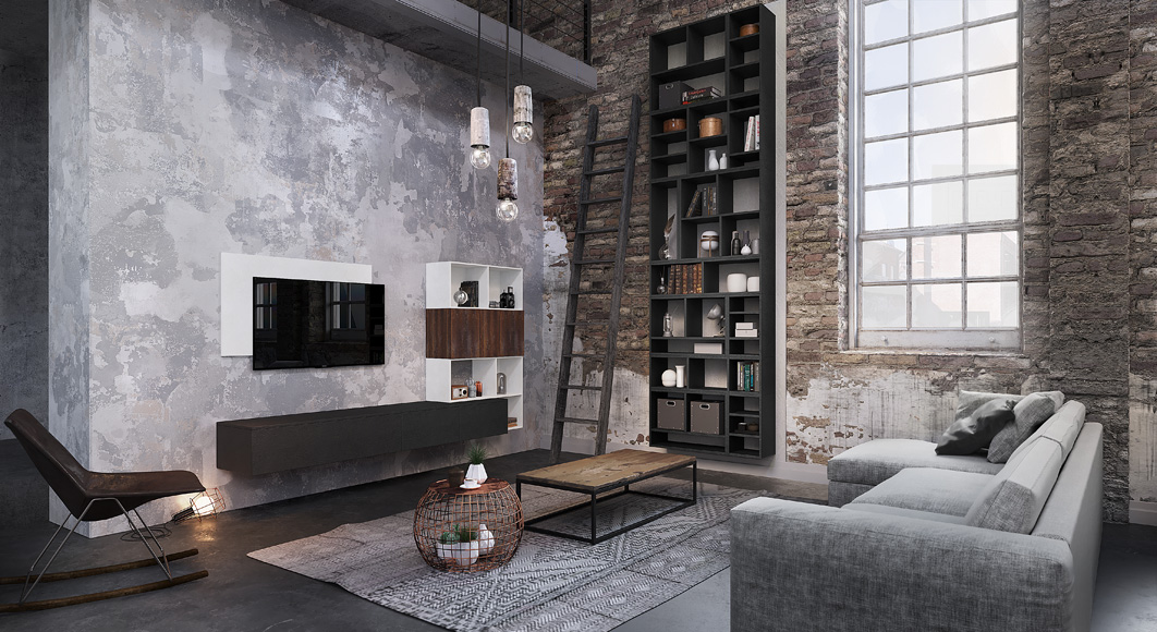 Meubles de salon contemporains esprit loft mod le for Ameublement salon
