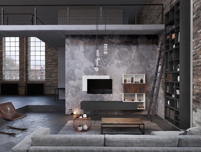 un meuble tv des meubles avec niches et une bibliothque lesprit industriel
