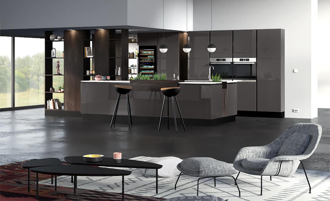 cuisine quip e en laque au style ethnique chic mod le reflet. Black Bedroom Furniture Sets. Home Design Ideas
