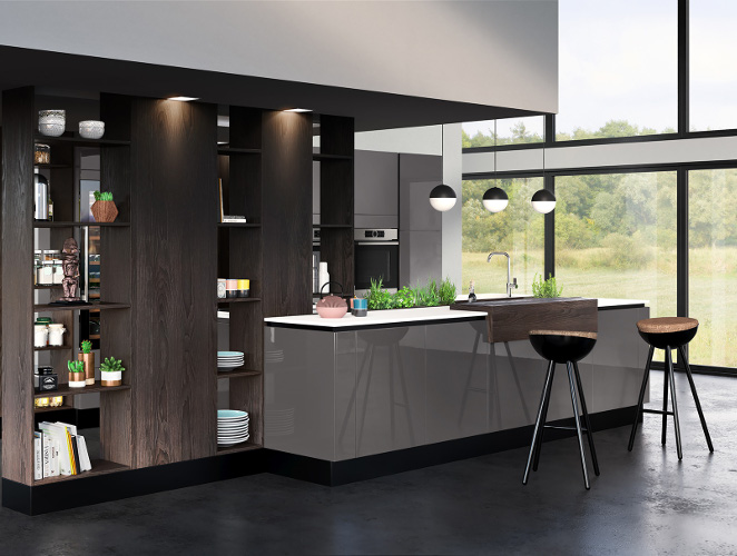 cuisine quip e en laque au style ethnique chic mod le reflet. Black Bedroom Furniture Sets. Home Design Ideas