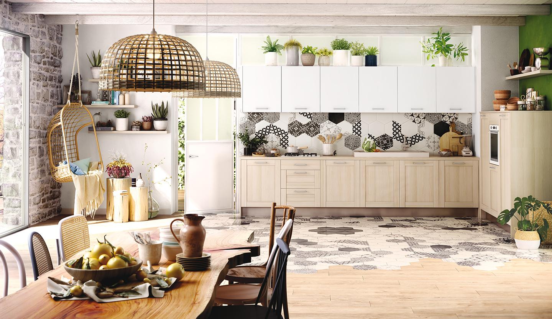 Une Cuisine Familiale A L Esprit Scandinave Et Vegetal Modele Boheme